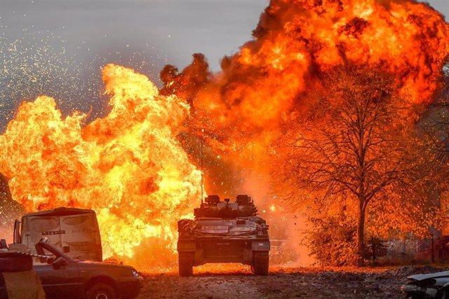 Explosión durante unas maniobras en Salisbury Plain (Reino Unido)