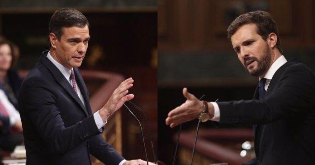 Montaje del presidente del Gobierno en funciones, Pedro Sánchez, y el líder del PP, Pablo Casado, durante el debate de investidura