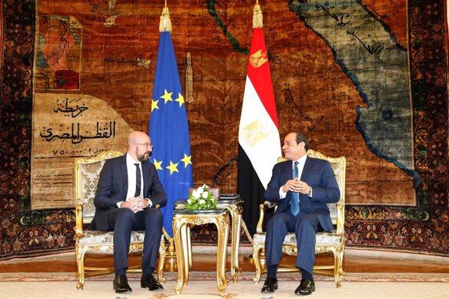 Charles Michel y Abdelfatá al Sisi