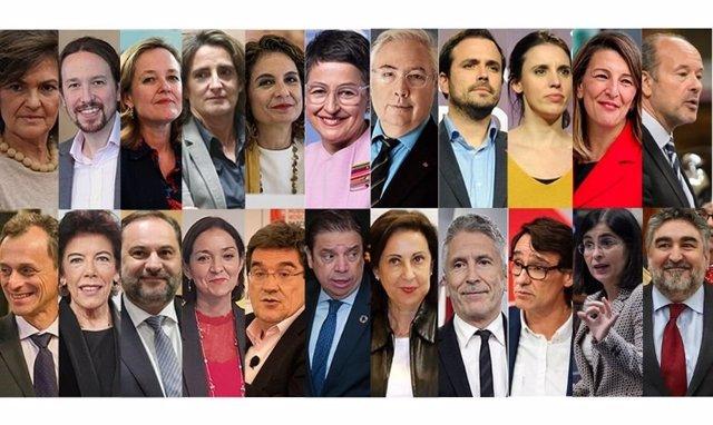 Estos son todos los ministros del Gobierno de coalición de PSOE y UP.