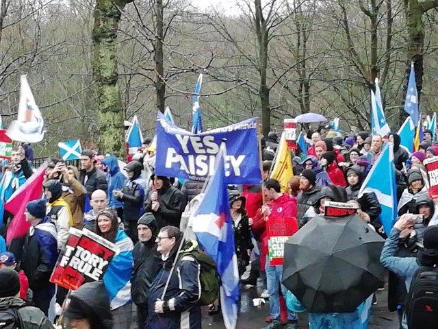 Manifestación independentista en Glasgow, Escocia