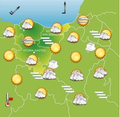 Cielos nubosos y temperaturas bajas este lunes en Euskadi