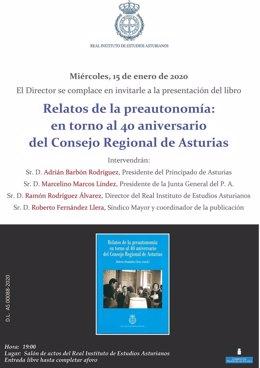 Cartel de la presentación en el Ridea del libro 'Relatos de la preautonomía: en torno al 40 aniversario del Consejo Regional de Asturias'