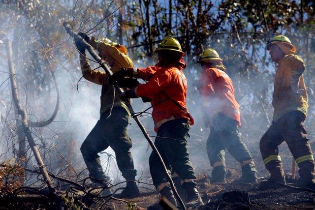 Bomberos chilenos intentan sofocar el gran incendio que devoró miles de hectáreas en Valparaíso en 2017.