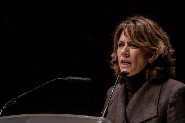 La ministra de Justicia en funciones, Dolores Delgado durante su intervención en el acto de entrega en la VII Edición de los premios Excelencia y Calidad en la Justicia.