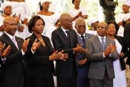 El presidente, Jovenel Moise, en el acto en memoria de las víctimas del terremoto de 2010