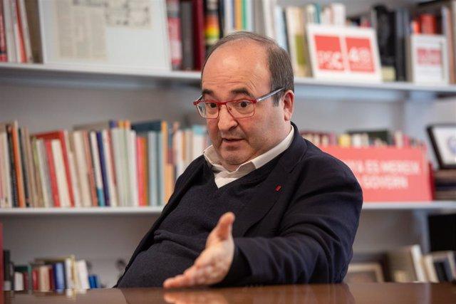 Miquel Iceta, durant una entrevista a Europa Press, Barcelona, 9 de gener del 2020.