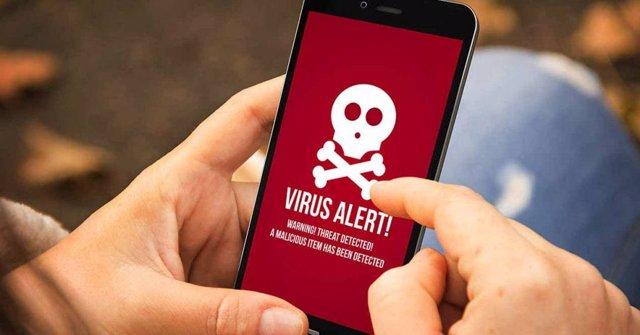 Virus o malware en un smartphone.