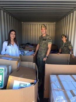 Parte del material recogido en colegios de Almería y entregado en Líbano por la Legión