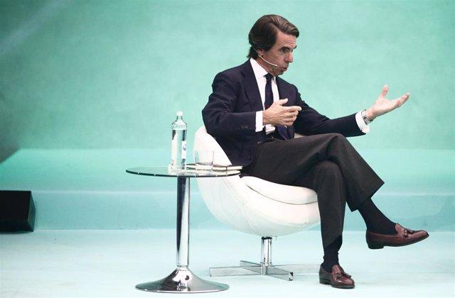 El expresidente de Gobierno, José María Aznar, durante la segunda jornada del  'DigitalES Summit 2019' en Madrid..