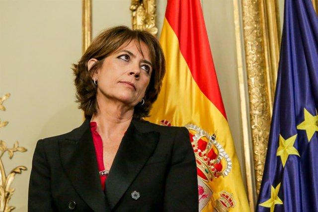 L'exministra de Justícia i fiscal General de l'Estat, Dolores Delgado, durant l'acte de presa de possessió de ministres al Ministeri de Justícia al Palau de Parcent, Madrid (Espanya), 13 de gener del 2020.