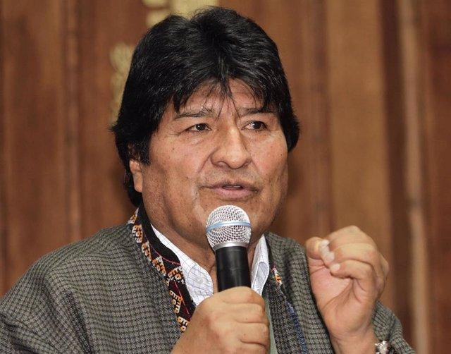 27 November 2019, Mexico, Mexico City: Bolivian former president Evo Morales speaks during a press conference at Mexico City's Journalists Club. Photo: Alejandro Guzmán/NOTIMEX/dpa