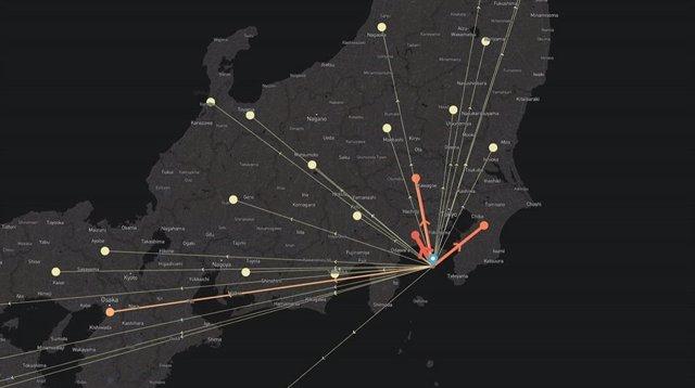 Mapa de desplazados de Facebook en Japón por el tifón Hagibis.