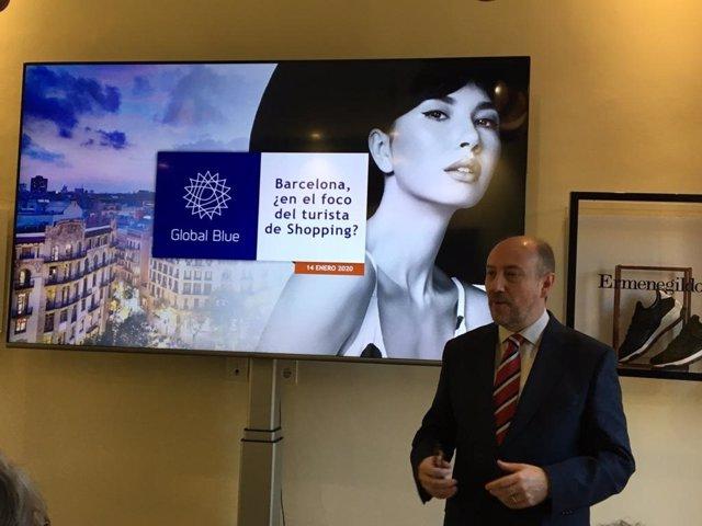 El director general de Global Blue España, Lluís Llorca, este martes en rueda de prensa