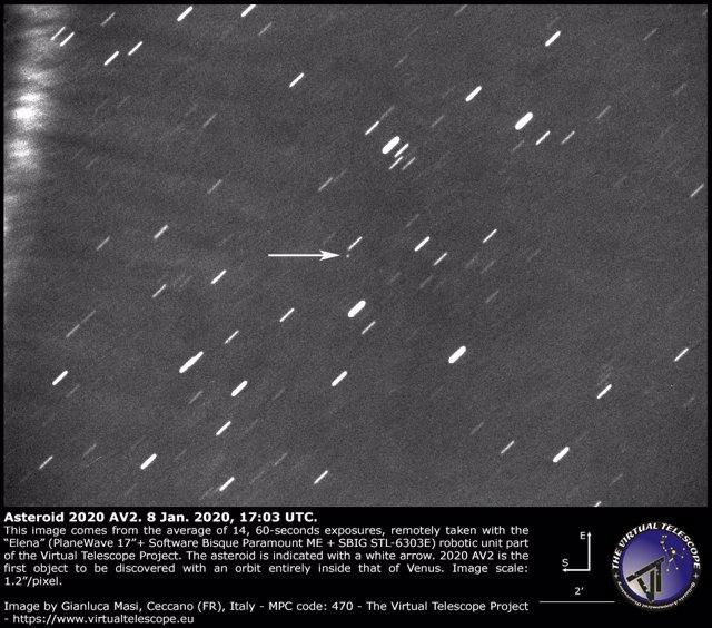 Primera imagen del asteroide intervenusiano 2020 AV2