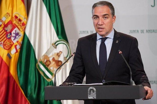 El portavoz del Gobierno andaluz y consejero de Presidencia, Administración Pública e Interior, Elías Bendodo, en rueda de prensa posterior al Consejo de Gobierno.