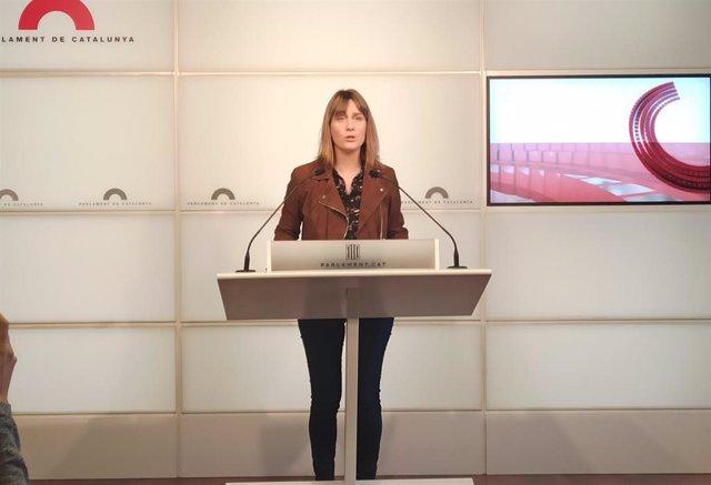 Jéssica Albiach (comuns) en rueda de prensa en el Parlament, el 14 de enero de 2020.