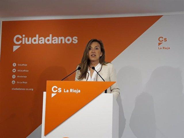 La diputada de Ciudadanos La RIoja, Belinda León, en comparecencia de prensa