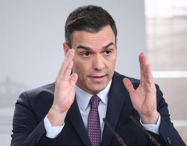 El president del Govern central, Pedro Sánchez, en roda de premsa després de la primera reunió del Consell de Ministres de l'executiu de coalició entre el PSOE i Unides Podem en la XIV Legislatura, Madrid (Espanya), 14 de gener del 2020.