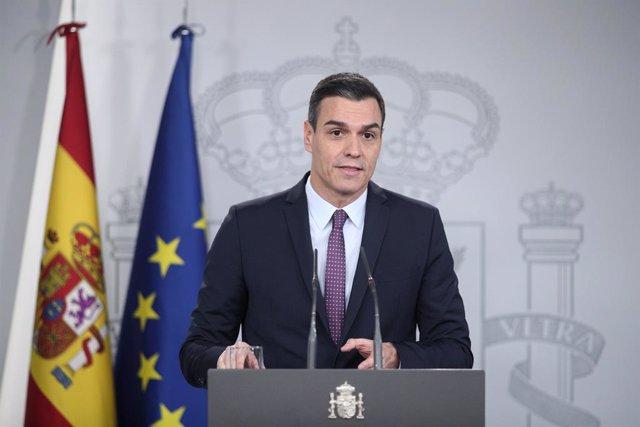 El president del Govern espanyol, Pedro Sánchez, en roda de premsa després de la primera reunió del Consell de Ministres de l'executiu de coalició entre el PSOE i Unides Podem en la XIV Legislatura, Madrid (Espanya), 14 de gener del 2020.