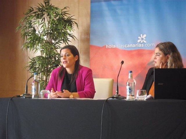 La consejera de Turismo del Gobierno de Canarias, Yaiza Castilla y la gerente de Promotur, María Méndez, en rueda de prensa