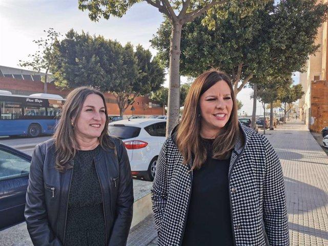 La diputada provincial de Cs, Estefanía Brazo, y la portavoz de Ciudadanos en el Ayuntamiento de San Fernando, Regla Moreno