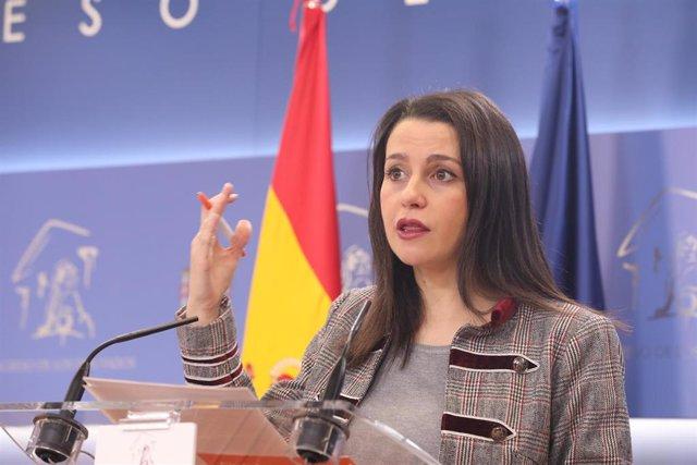 La presidenta y portavoz de Ciudadanos en el Congreso de los Diputados, Inés Arrimadas.