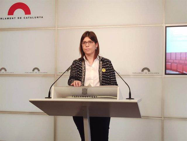 La diputada en el Parlament Gemma Geis (JxCat) en rueda de prensa el 14 de enero de 2020.