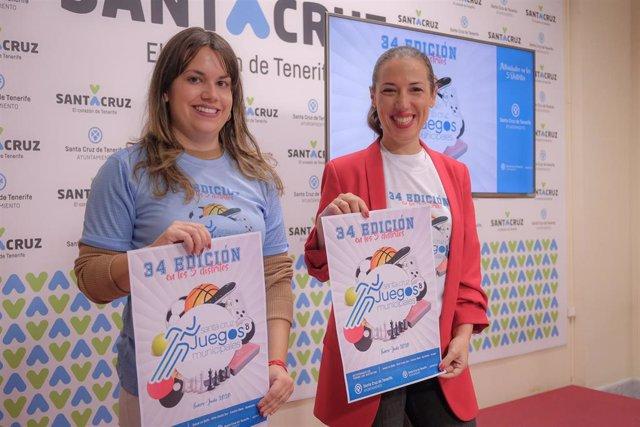 La concejal de Deportes del Ayuntamiento de Santa Cruz de Tenerife, Elena Mateo y la alcadesa, Patricia Hernández, en la presentación de los Juegos Municipales