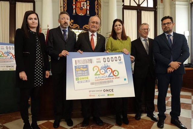 Presentación del cupón de la ONCE del 22 de enero dedicado a la Capitalidad Europea del Deporte de Málaga 2020