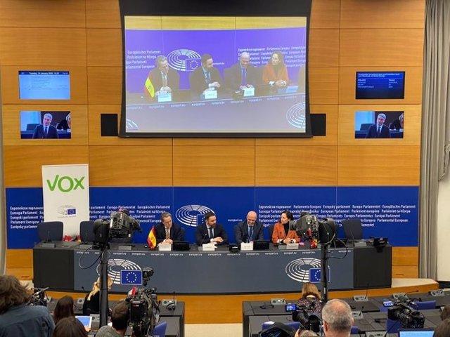El presidente de Vox, Santiago Abascal, en el Parlamento Europeo