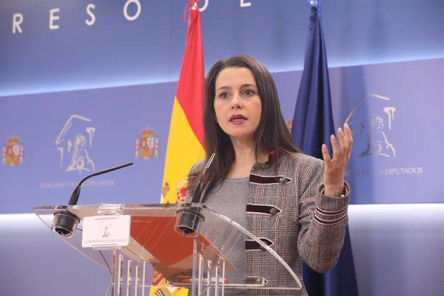 La presidenta i portaveu de Ciutadans al Congrés dels Diputats, Inés Arrimadas, a la sala de premsa del Congrés, Madrid (Espanya), 14 de gener del 2020.