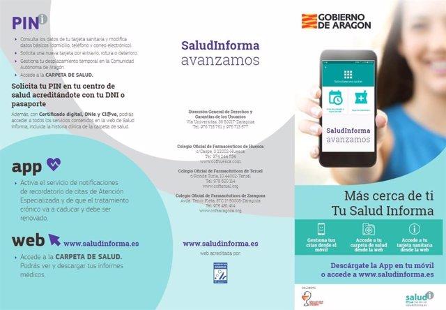 Tríptico informativo sobre las funcionalidades de Salud Informa.