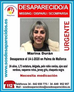 Cartel de la búsqueda de Marina Durán en Palma.