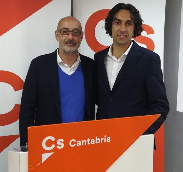 El portavoz parlamentario de Cs y exportavoz autonómico, Félix Álvarez, junto al alcalde de Astillero y nuevo portavoz de Cs Cantabria, Javier Fernández Soberón (Imagen de archivo)