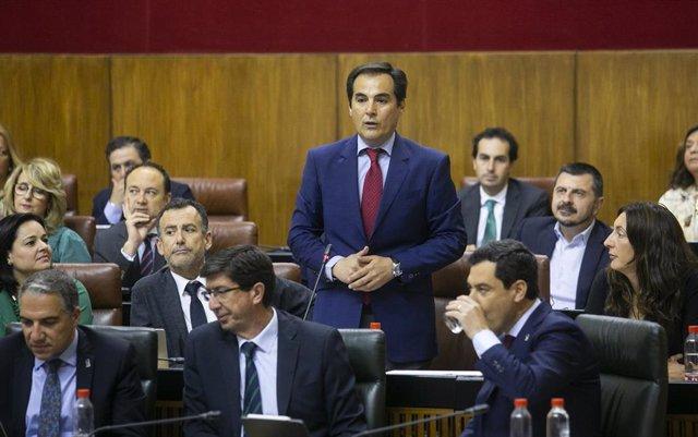 El portavoz del grupo parlamentario del PP, Jose Antonio Nieto, durante su intervención en la sesión plenaria