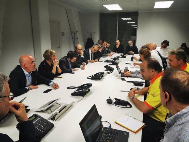 El president de la Generalitat, Quim Torra, en la reunió després de l'explosió
