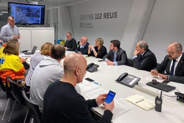 El presidente de la Generalitat, Quim Torra, y el vicepresidente, Pere Aragonès, en la reunión tras la explosión