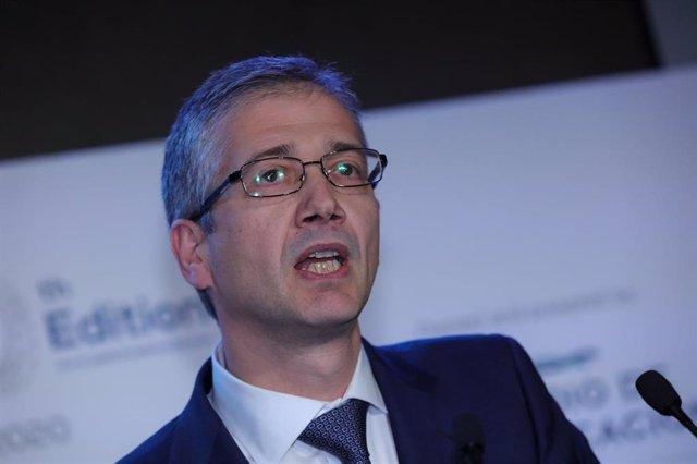 El gobernador del Banco de España, Pablo Hernández de Cos, interviene en la clausura de la X edición del 'Spain Investors Day' en el Palacio de la Bolsa de Madrid el 14 de enero de 2020.