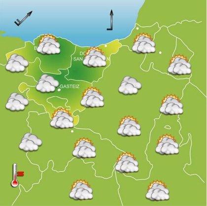 Jornada nublada, con temperaturas máximas de 16 grados este miércoles en Euskadi