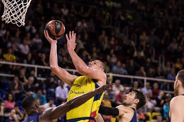 Oliver Stevic, #14 of Morabanc Andorra in action during the Liga Endesa match between Fc Barcelona Lassa and Morabanc Andorra at Palau Blaugrana, in Barcelona, Spain, on May 27, 2018.