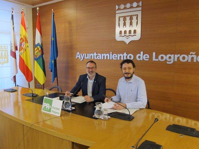 El portavoz del PR+, Rubén Antoñanzas, y el responsable del área institucional del partido, David Muntión