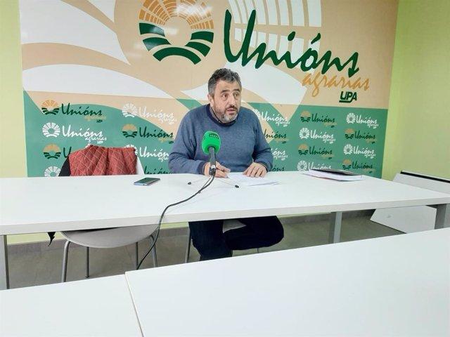 El responsable de producciones extensivas y agricultura de Unións Agrarias, José Ramón González, en rueda de prensa en Lugo.