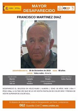 Cartel emitido por el Centro Nacional de Desaparecidos