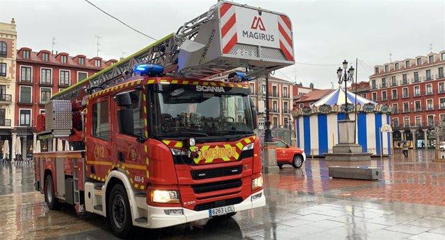 El nuevo camión con autoescala de los Bomberos de Valladolid.
