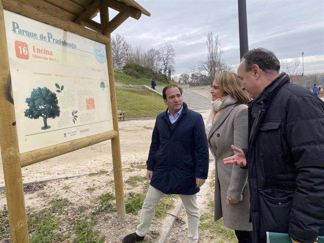 El delegado de Medio Ambiente y Movilidad, Borja Carabante, visita el parque de Pradolongo en el distrito de Usera, que ha sido renovado.