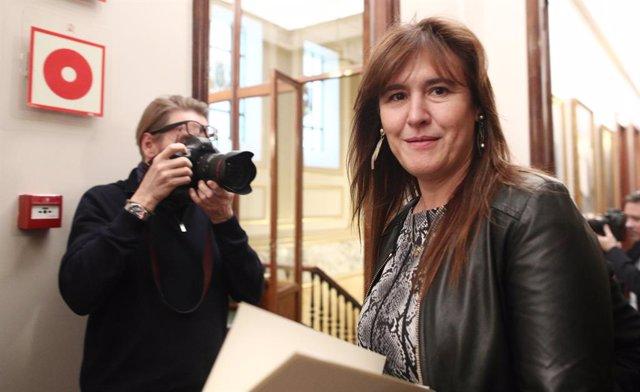 La portaveu de JxCat al Congrés, Laura Borrs, a la seva arribada a la Junta de Portaveus del Congrés dels Diputats, a Madrid (Espanya), a 15 de gener del 2020.
