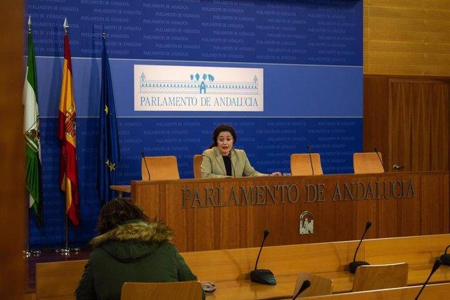 La portavoz del grupo parlamentario Adelante Andalucía, Inmaculada Nieto, en rueda de prensa este miércoles