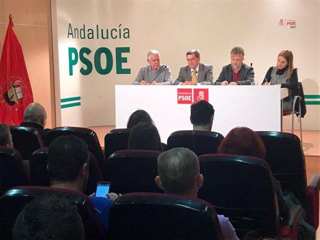 Rueda de prensa del PSOE-A sobre educación, con la presencia del portavoz parlamentario, José Fiscal