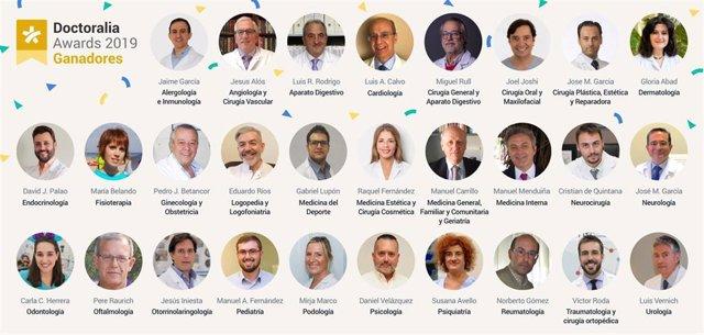 Los 28 profesionales de la salud premiados